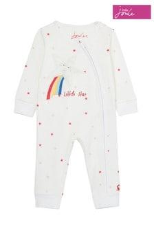 Joules White Winfield Zip Babygrow