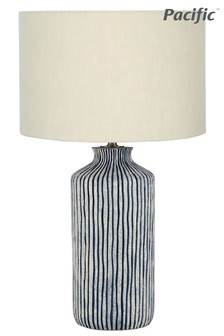 Bude Blue/White Stripe Stoneware Table Lamp by Pacific Lifestyle