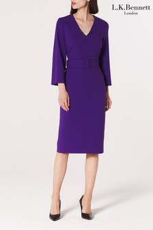 L.K.Bennett Purple Esther Belted Dress