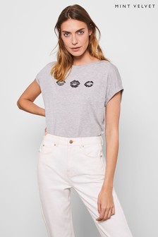 Mint Velvet Grey Heart T-Shirt