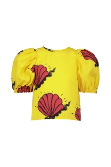 Girls Yellow Shell Woven Blouse