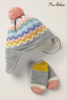 Boden Grey Fairisle Pattern Hat And Mittens Set