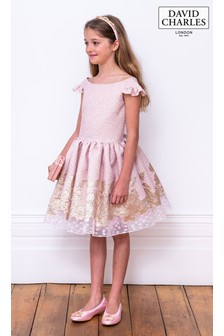 David Charles Pink And Gold Brocade Party Dress