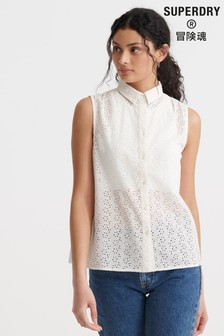 Superdry White Broderie Sleeveless Shirt