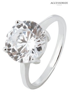 Accessorize Clear Round Cut Solitaire Ring