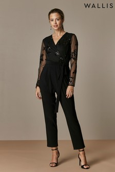 Wallis Black Floral Sequin Mesh Jumpsuit