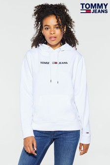 Tommy Jeans White Clean Linear Logo Hoody