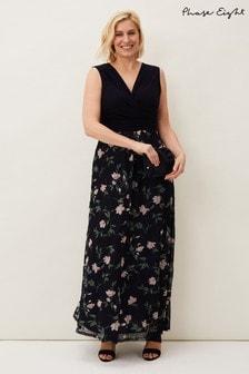 Phase Eight Blue LeighAnn Printed Skirt Maxi Dress