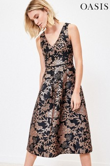 Oasis Black Oriental Jacquard Midi Dress