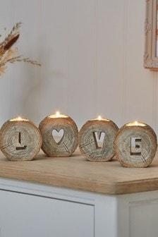 Set of 4 Wood Effect Love Word Tealight Holders