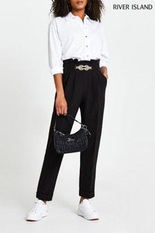 River Island Black Rope Metal Snaffle Peg Trousers