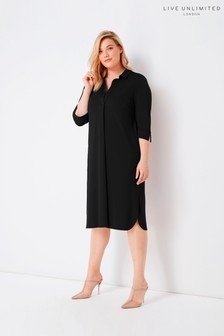 Live Unlimited Black French Crepe Collared Dress
