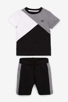 Short Sleeve T-Shirt And Shorts Colour Block Set (3mths-7yrs)