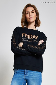 Harpenne Black Print Lace Trim Sweatshirt