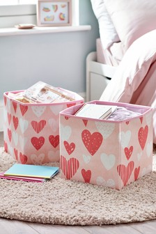 Set of 2 Printed Heart Storage Boxes