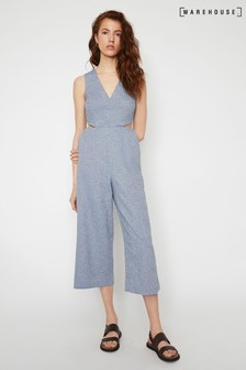 Warehouse Blue Chambray Culotte Jumpsuit