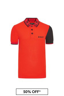 DKNY Red Cotton Polo Shirt