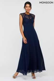 Monsoon Navy Lolita Lace Maxi Dress