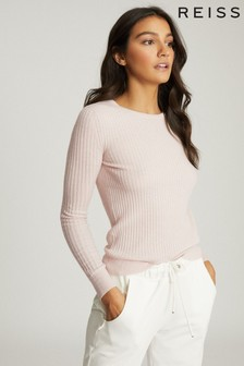 Reiss Pink Michelle Crew Neck Knitted Top