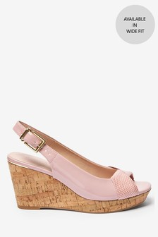 Square Toe Slingback Cork Wedges