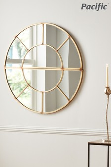 Antique Gold Metal 2 Oval Section Wall Mirror by Pacific