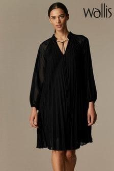 Wallis Black Pleated Swing Dress