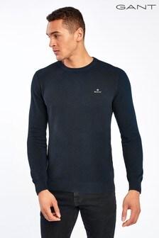 GANT Blue Cotton Pique Crew Sweater