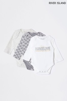 River Island Grey Handsome Babygrows Three Pack