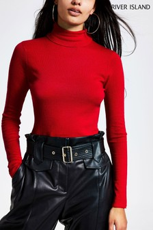River Island Red Jamie Cast Off Roll Neck Jumper