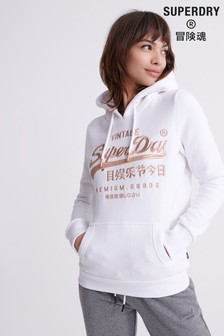 Superdry White Embroidered Hoody