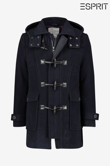 Esprit Blue Duffle Coat With Checked Lining