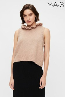Y.A.S Beige Cropped Knitted Judie Vest