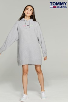 Tommy Jeans Grey Logo Hoody Dress