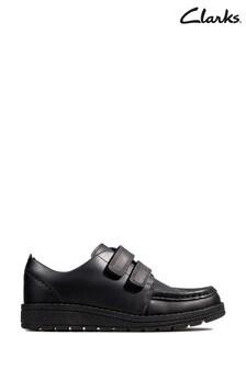 Clarks Kids Black Mendip Bright Shoe