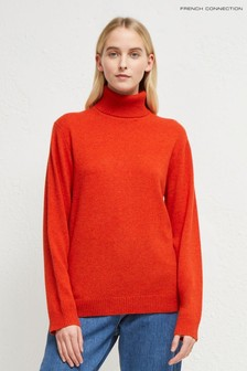 French Connection Brown Cashmere Blend Roll Neck Jumper