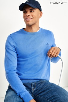 GANT Blue Cotton Cashmere Crew Sweater