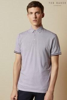 Ted Baker Purple Islanda Textured Cotton Poloshirt