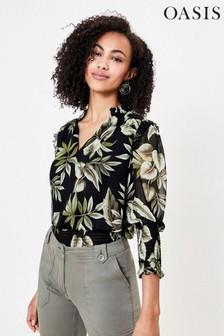 Oasis Black Leaf Print Shirred Top