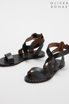 Oliver Bonas Black Studded Leather Sandals