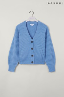Warehouse Blue Wide Travelling Rib Cardigan
