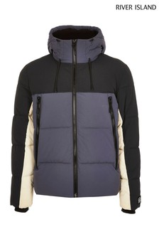 River Island Blue Medium Blocked Double Pocket Puffer Jacket
