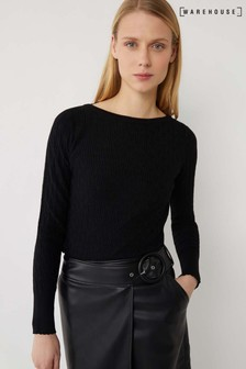 Warehouse Black Stitched Scallop Trim Jumper