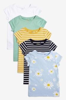 5 Pack Short Sleeve Daisy T-Shirts (3-16yrs)