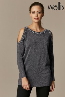 Wallis Petite Pearl Trim Cold Shoulder Tunic