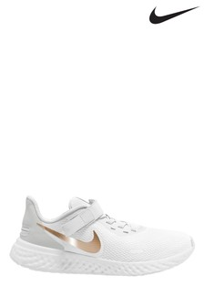 Nike Run White/Gold Revolution 5 Trainers