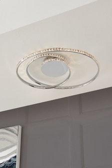 Chrome Luna Flush Ceiling Light