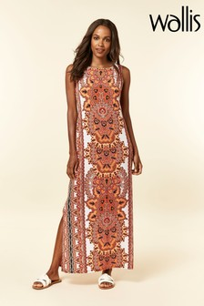Wallis Petite Orange Geometric Print Maxi Dress