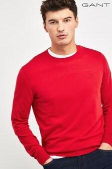 GANT Red Cotton Cashmere Crew Sweater