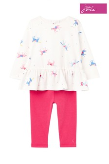 Joules White Olivia Appliqué Top And Leggings Set