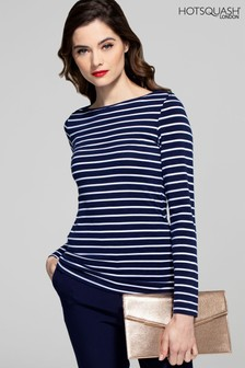 HotSquash Navy And White Stripes Easy Elegance Top